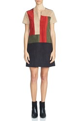1.State Women's Colorblock Faux Suede Shift Dress