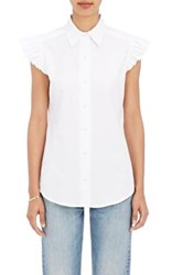 Harvey Faircloth Women's Ruffled Cap Sleeve Shirt White