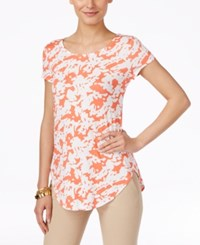 Alfani Printed Short Sleeve Top Only At Macy's Abstract Silhoutte Coral