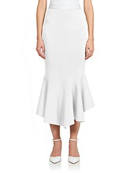 Givenchy Crepe Jersey Ruffle Midi Skirt White