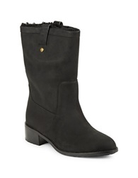 Cole Haan Waterproof Suede And Shearling Lined Ankle Booties Black