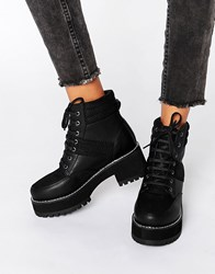 Asos Rator Chunky Lace Up Ankle Boots Black Mesh