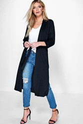 Boohoo Belted Maxi Robe Duster Black