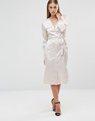 Missguided Midi Shirt Dress Nude Beige