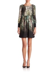 Abs By Allen Schwartz Digital Print Babydoll Dress Forest