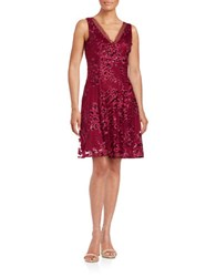 Badgley Mischka Platinum Floral Fit And Flare Dress Berry