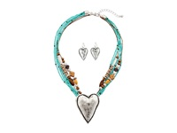 Mandf Western Multi Strand Hammered Heart Necklace Earrings Set Turquoise Jewelry Sets Blue