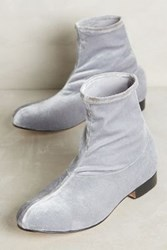 Anthropologie The Palatines Firmo Velvet Ankle Boots Silver