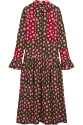 House Of Holland Spotlight Polka Dot Crepe Midi Dress Army Green