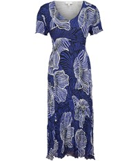 Cc Abstract Shell Print Crinkle Dress Blue