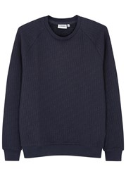 J. Lindeberg Chad Navy Quilted Jersey Sweatshirt