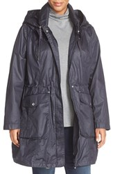 Laundry By Shelli Segal Plus Size Women's Double Collar Hooded Anorak Dark Navy