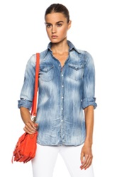 Dsquared Western Denim Long Sleeve Shirt In Blue