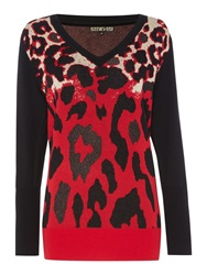 Biba V Neck Jacquard Leopard Jumper Red