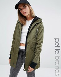 Noisy May Petite Khaki Parka Coat Khaki Green