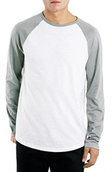 Topman Long Sleeve Raglan Baseball T Shirt Light Grey Multi