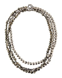 Brunello Cucinelli Faceted Hematite Necklace 62'L Steel