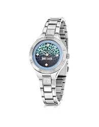 Just Cavalli Just Indie Silver Tone Stainless Steel Women's Watch W Animal Print Dial