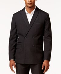 Inc International Concepts Men's Jace Slim Fit Double Breasted Plaid Jacket Only At Macy's Black