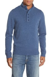 Wallin And Bros 'Herbert' Trim Fit Quarter Button Wool Blend Sweater Blue