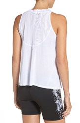 Alo Yoga Women's 'Crest' Mock Neck Lace Inset Tank White