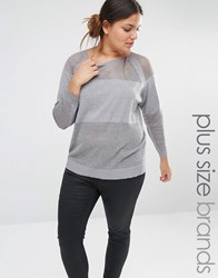 Carmakoma Sweatshirt With Perforated Panels Grey