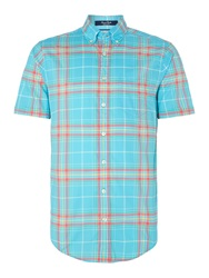 Gant Summer Check Classic Fit Short Sleeve Shirt Turquoise