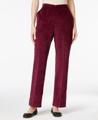 Alfred Dunner Corduroy Pull On Pants Wine