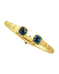 18K Gold London Blue Topaz Hinged Bracelet