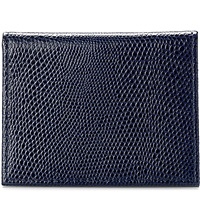 Aspinal Of London Id And Travel Card Lizard Embossed Leather Case Navy