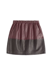 Vince Two Tone Leather Skirt Multicolor
