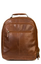 Boconi Men's 'Becker' Leather Backpack Brown Whiskey W Khaki