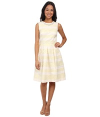 Maggy London Jacquard Faille Stripe Fit Flare Dress W Pearl Detail Yellow Tan Women's Dress