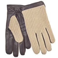 John Lewis Crochet Back Wool Lined Leather Driving Gloves Brown