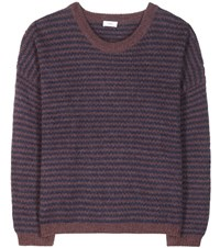 Closed Striped Wool And Alpaca Blend Sweater Purple