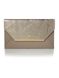 Lamb 1887 Clarence Gold And Grey Envelope Clutch Bag Gold