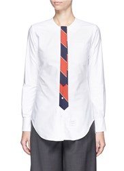 Thom Browne Stripe Tie Cotton Oxford Shirt White