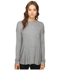 Heather Paneled Swing Top Light Grey Women's Clothing Silver