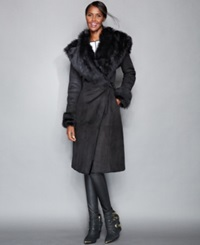 The Fur Vault Toscana Shearling Hooded Wrap Coat Black