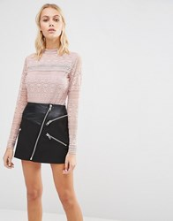 Fashion Union Long Sleeve Body In Floral Lace Pink