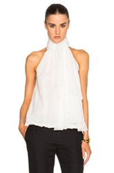 Kaufman Franco Kaufmanfranco Silk Chiffon Sleeveless Blouse In White