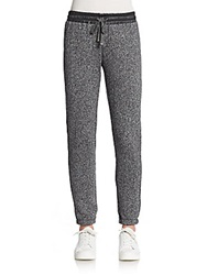 Candc California Faux Leather Accented Marled Track Pants Black