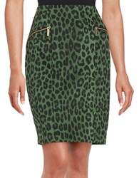 Michael Michael Kors Animal Print Pencil Skirt Moss