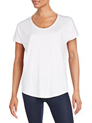Saks Fifth Avenue Black Pima Cotton Blend Split Back Tee White