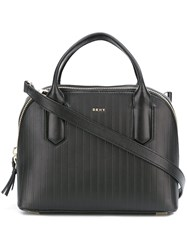 Dkny Small Striped Tote Black
