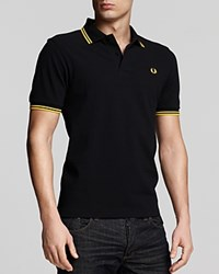 Fred Perry Tipped Logo Regular Fit Polo Shirt Black Bright Yellow Bright Yellow