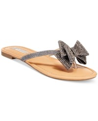 Inc International Concepts Women's Mabae Bow Flat Sandals Only At Macy's Women's Shoes Pewter