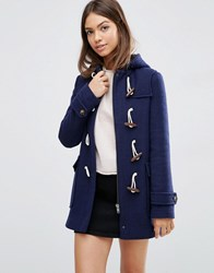 Asos Wool Blend Duffle Coat With Checked Liner Navy