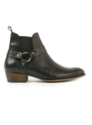 Topman Black Leather Harness Boots