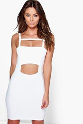 Boohoo Square Neck Strappy Cut Out Bodycon Dress Ivory